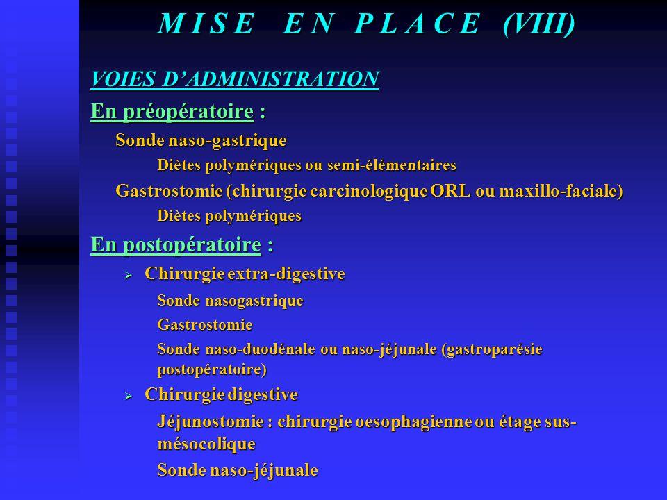 M I S E E N P L A C E (VIII) VOIES D'ADMINISTRATION En préopératoire :