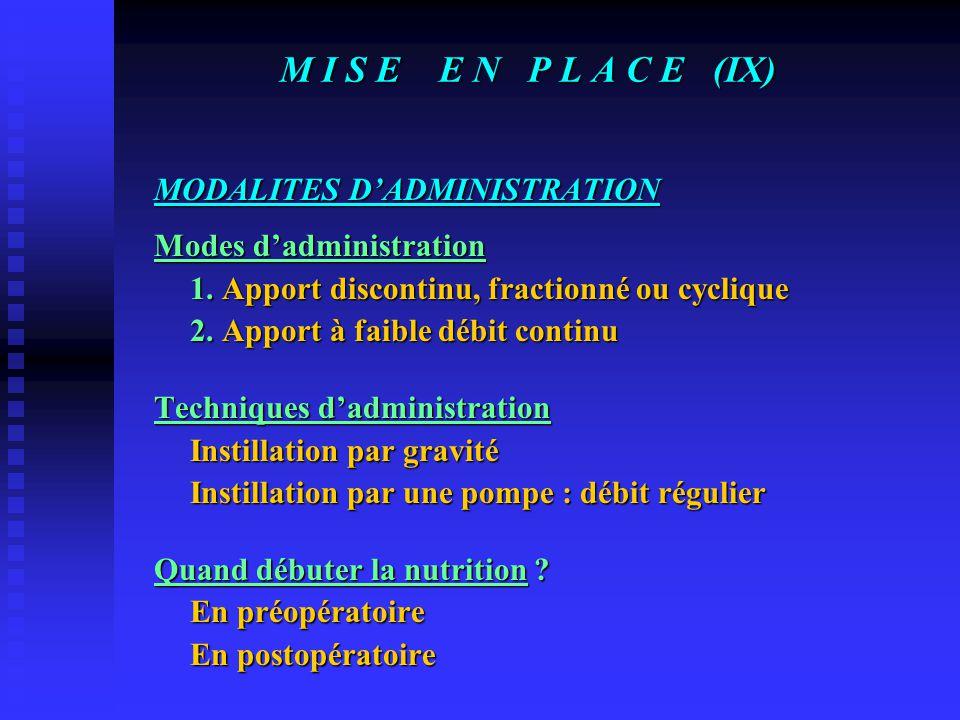 M I S E E N P L A C E (IX) MODALITES D'ADMINISTRATION