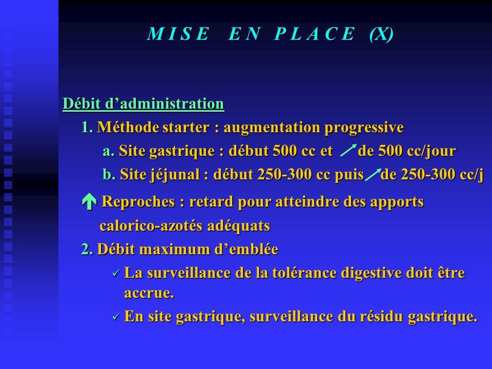 M I S E E N P L A C E (X) Débit d'administration