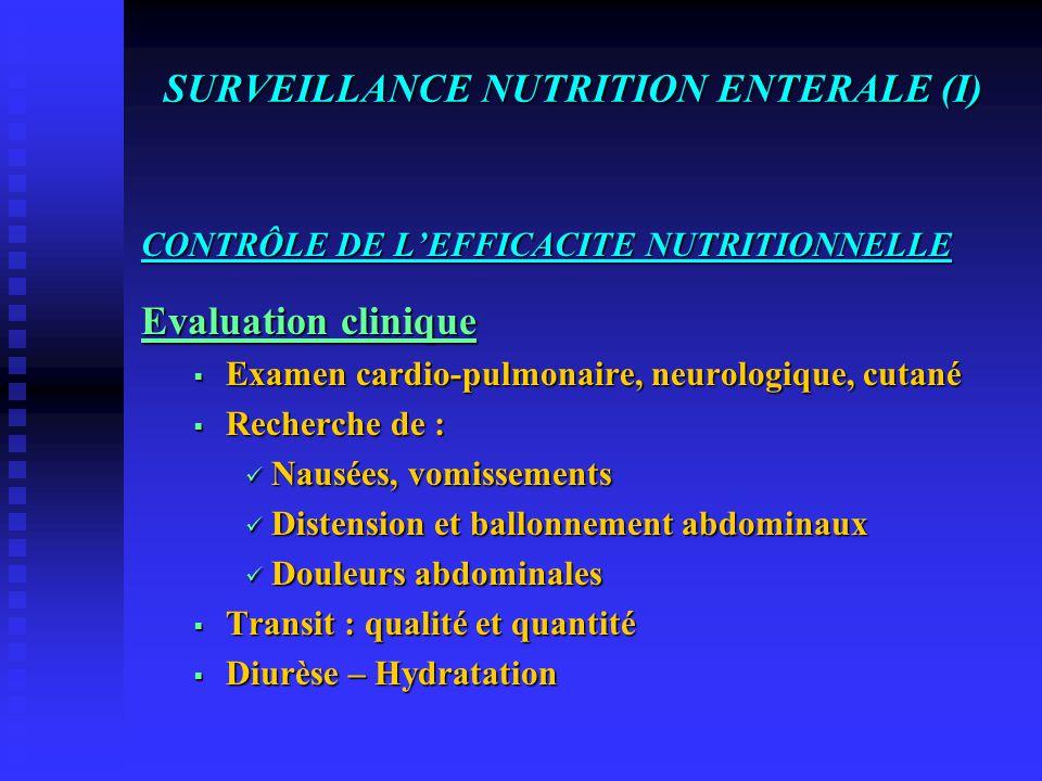 SURVEILLANCE NUTRITION ENTERALE (I)