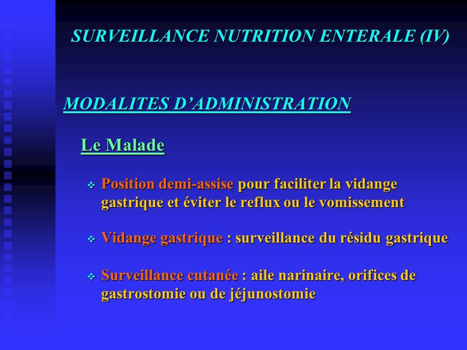 SURVEILLANCE NUTRITION ENTERALE (IV)