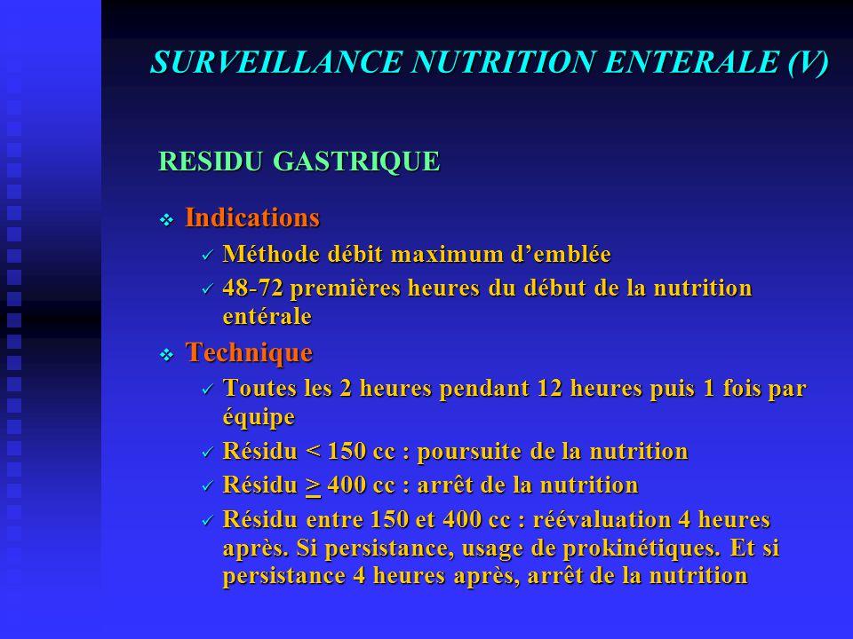 SURVEILLANCE NUTRITION ENTERALE (V)