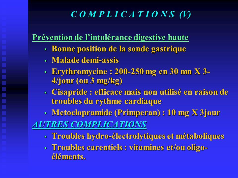 C O M P L I C A T I O N S (V) AUTRES COMPLICATIONS