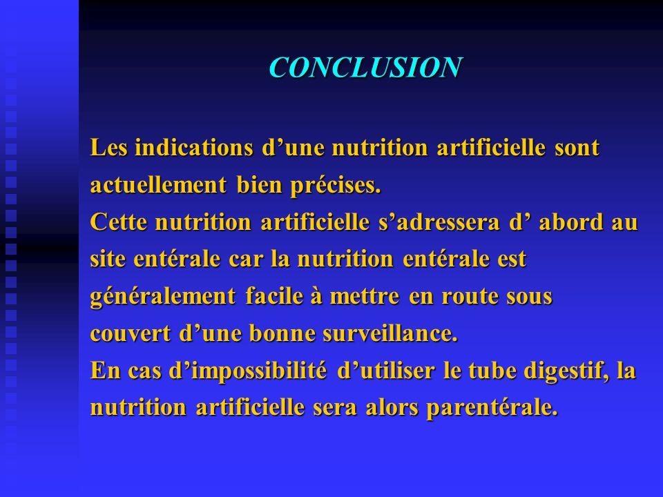 CONCLUSION Les indications d'une nutrition artificielle sont