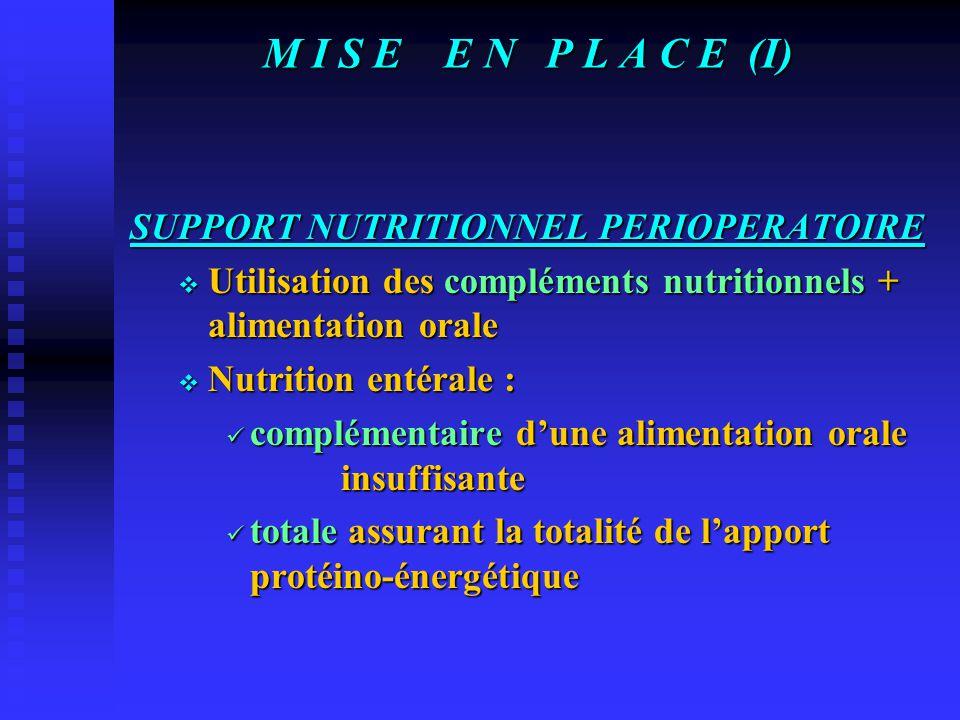 M I S E E N P L A C E (I) SUPPORT NUTRITIONNEL PERIOPERATOIRE