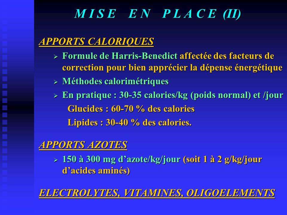 M I S E E N P L A C E (II) APPORTS CALORIQUES APPORTS AZOTES