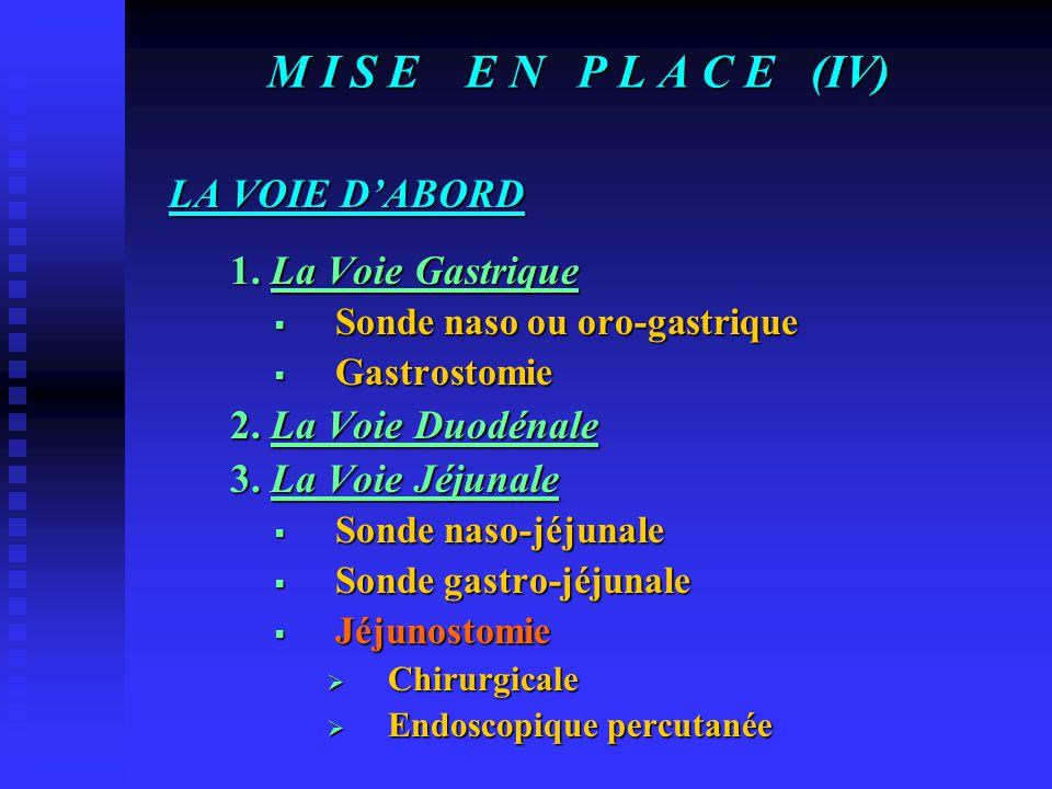 M I S E E N P L A C E (IV) LA VOIE D'ABORD 1. La Voie Gastrique