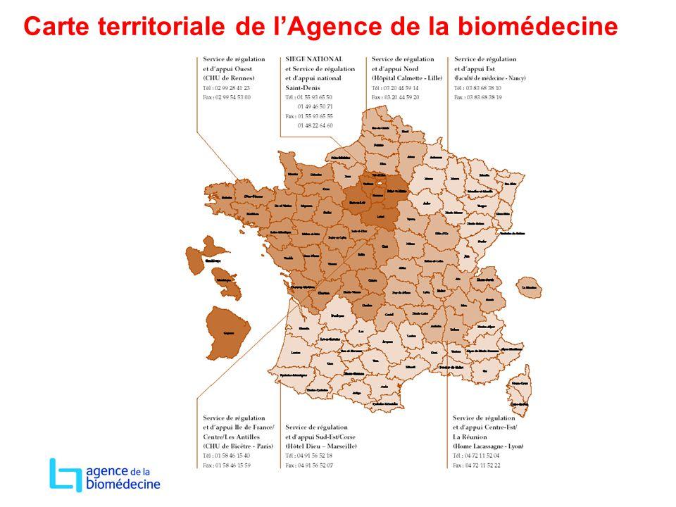 Carte territoriale de l'Agence de la biomédecine