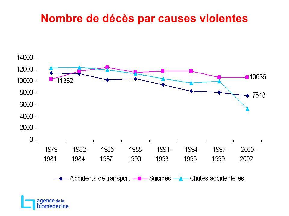 Nombre de décès par causes violentes