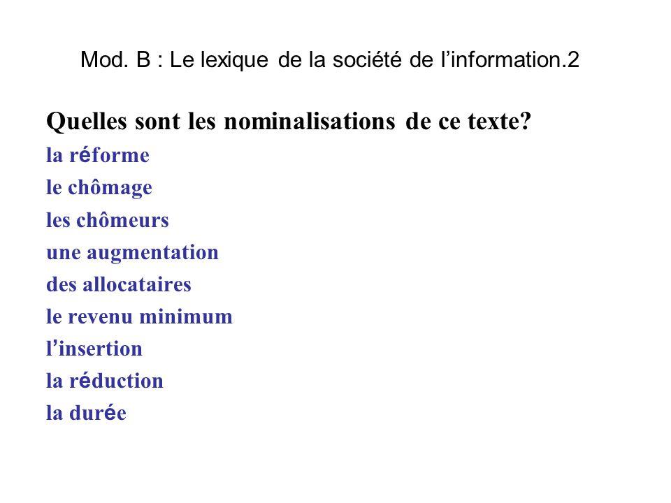 Mod. B : Le lexique de la société de l'information.2