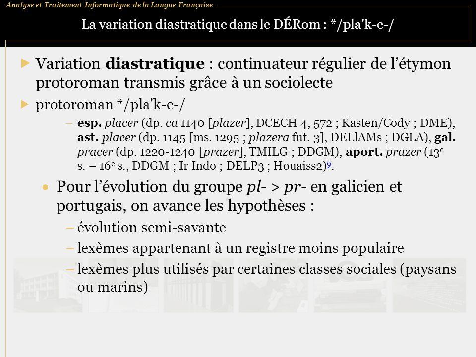 La variation diastratique dans le DÉRom : */pla k‑e‑/