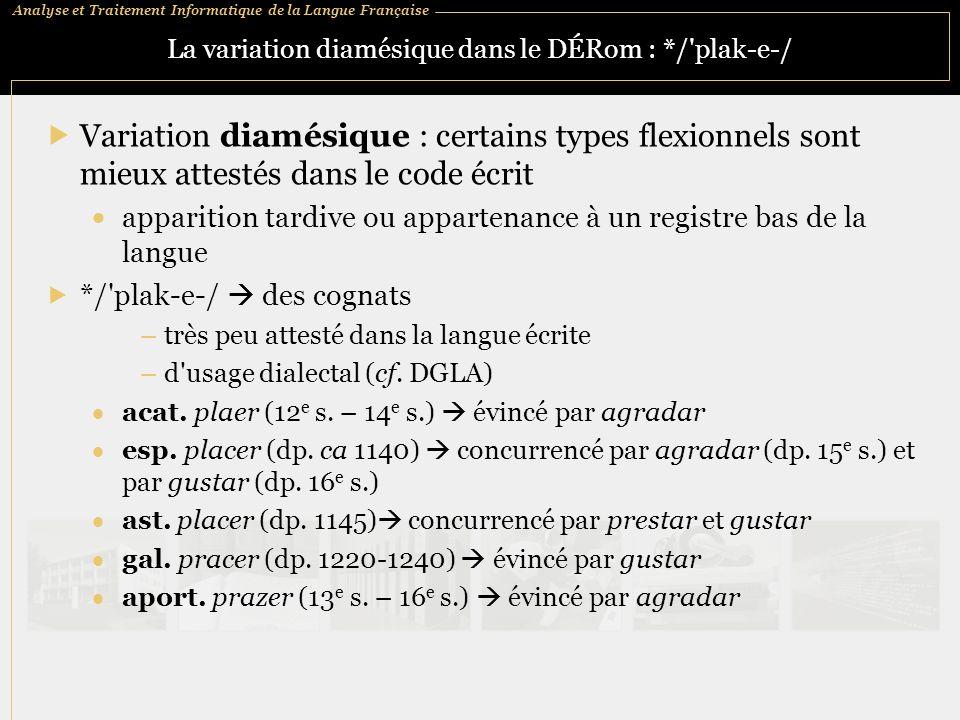 La variation diamésique dans le DÉRom : */ plak-e-/