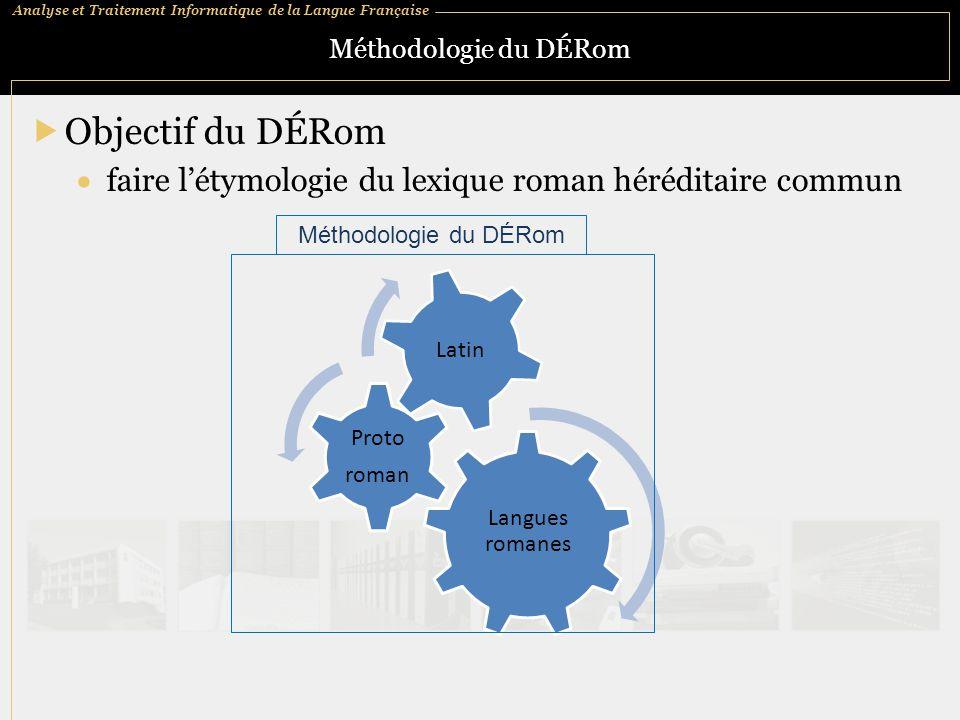 Méthodologie du DÉRom Objectif du DÉRom. faire l'étymologie du lexique roman héréditaire commun. Méthodologie du DÉRom.
