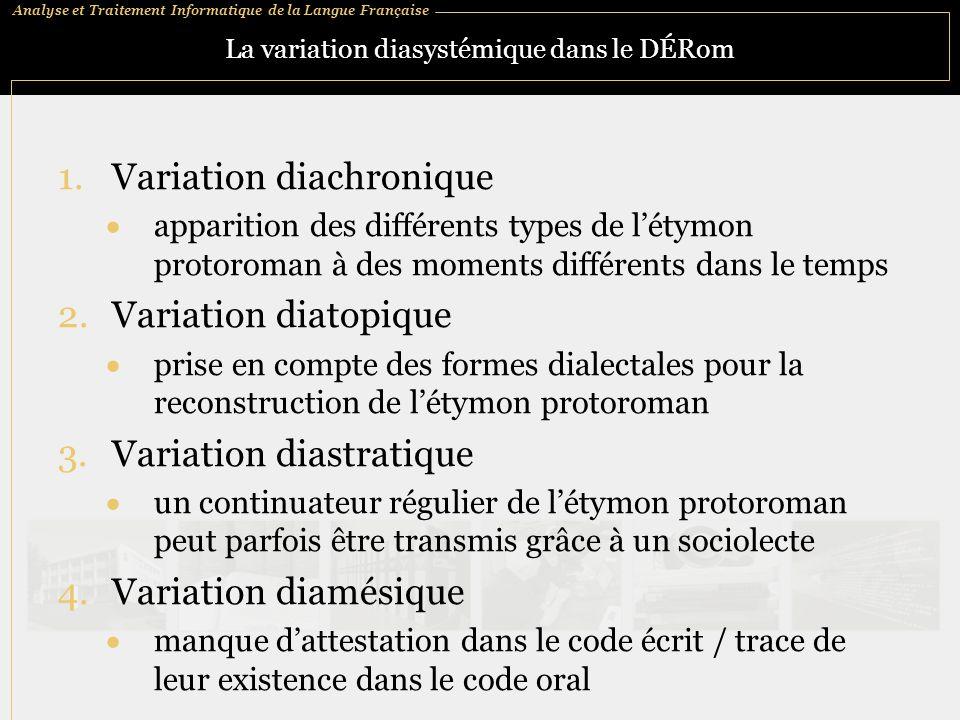 La variation diasystémique dans le DÉRom