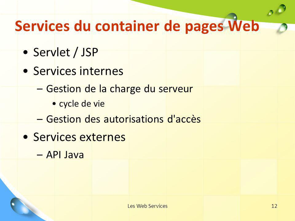 Services du container de pages Web