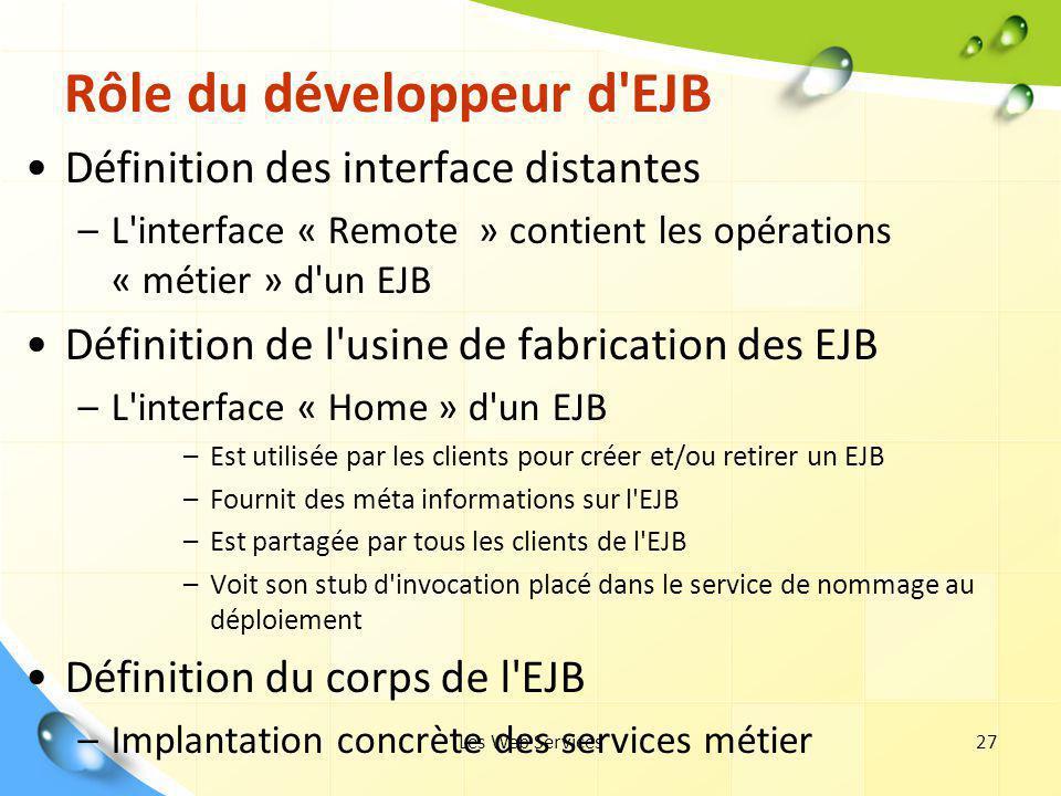 Rôle du développeur d EJB