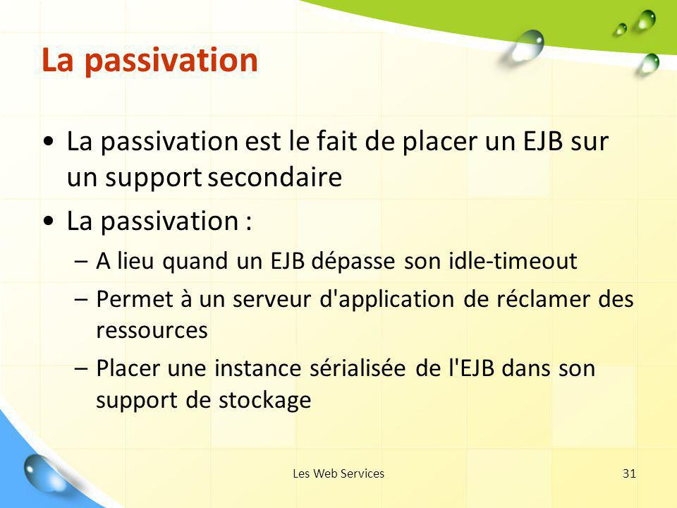 La passivation La passivation est le fait de placer un EJB sur un support secondaire. La passivation :