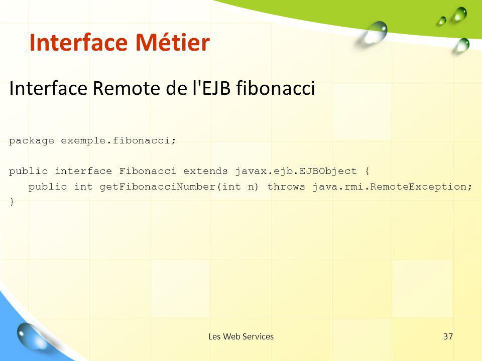 Interface Métier Interface Remote de l EJB fibonacci