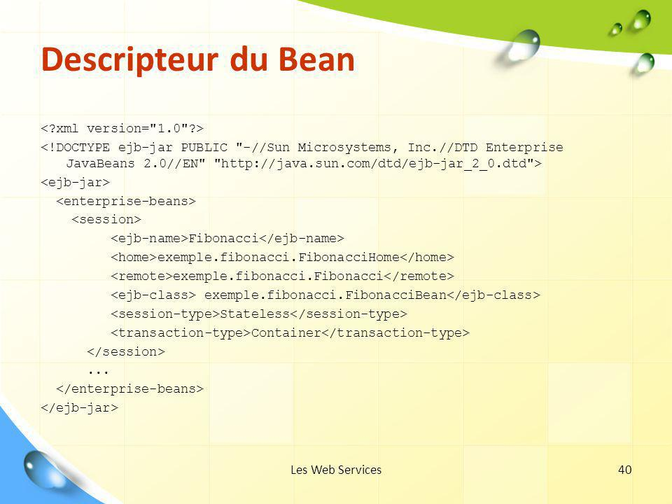 Descripteur du Bean < xml version= 1.0 >