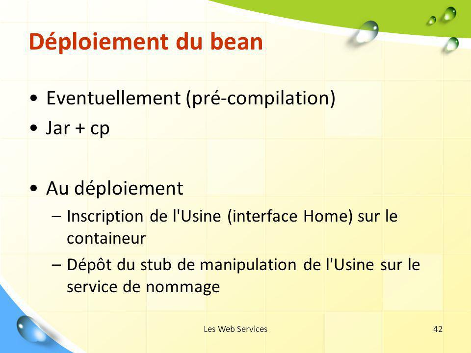 Déploiement du bean Eventuellement (pré-compilation) Jar + cp
