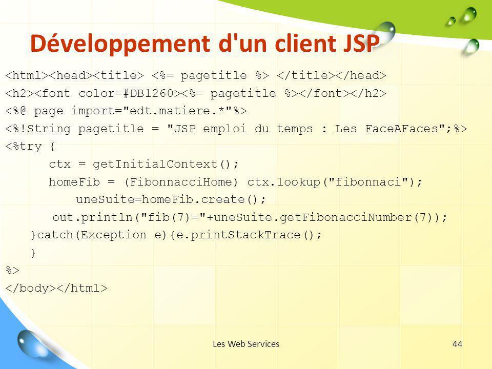 Développement d un client JSP