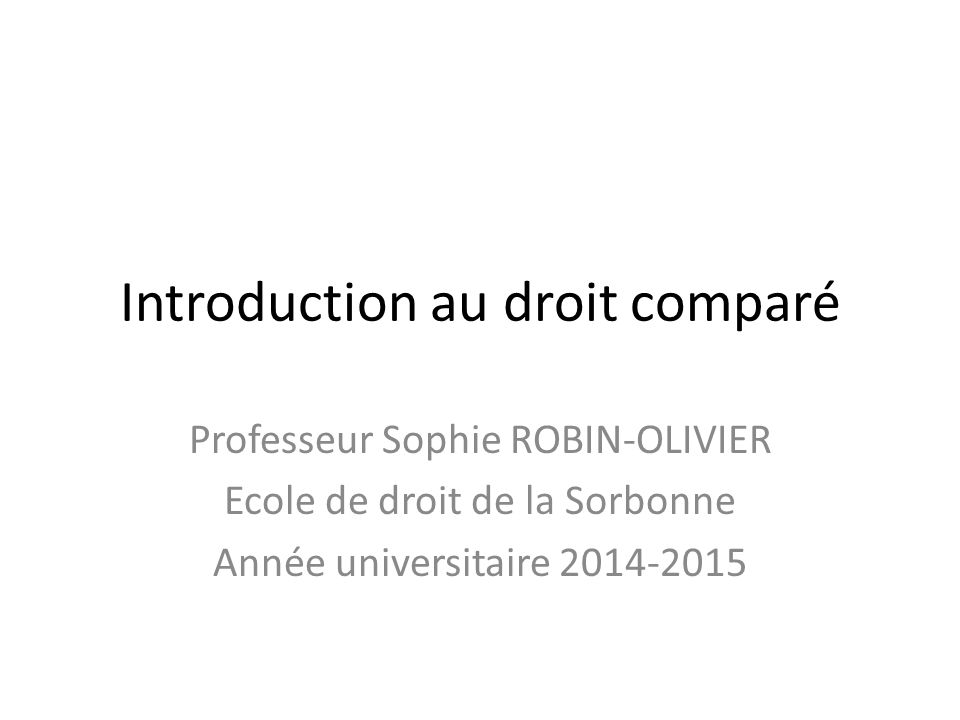 Introduction au droit comparé