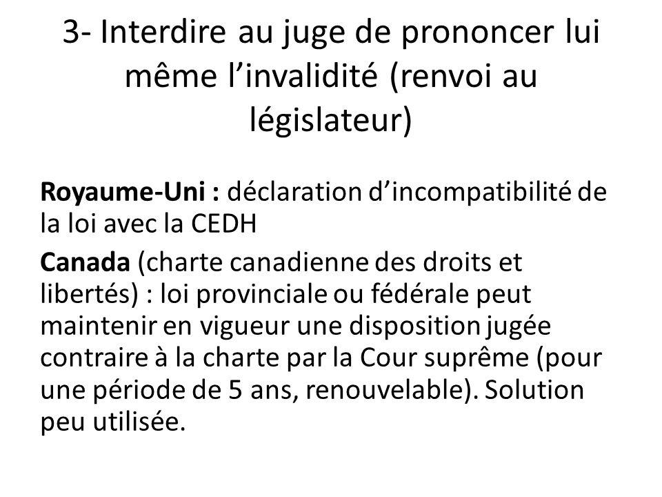 3- Interdire au juge de prononcer lui même l'invalidité (renvoi au législateur)