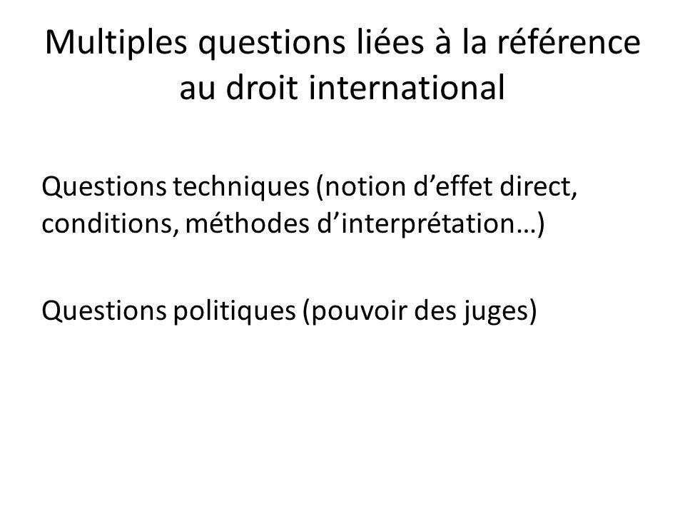 Multiples questions liées à la référence au droit international