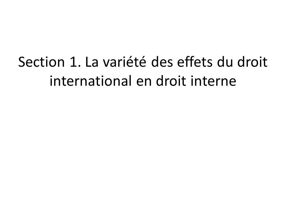 Section 1. La variété des effets du droit international en droit interne