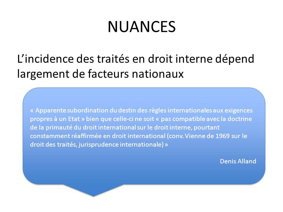 NUANCES L'incidence des traités en droit interne dépend largement de facteurs nationaux.