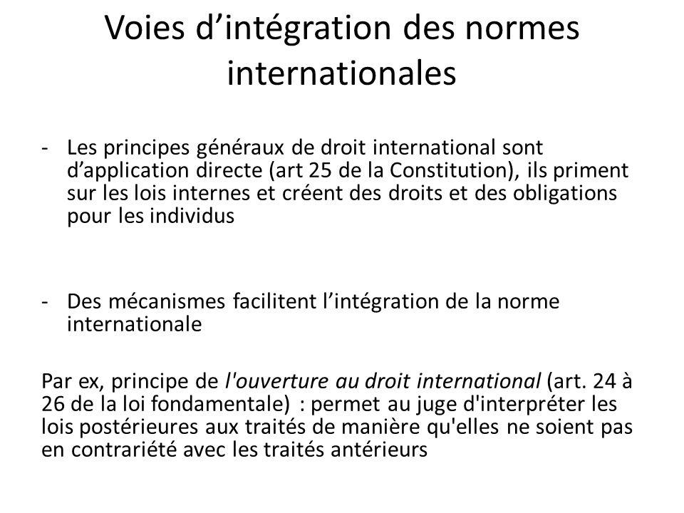 Voies d'intégration des normes internationales