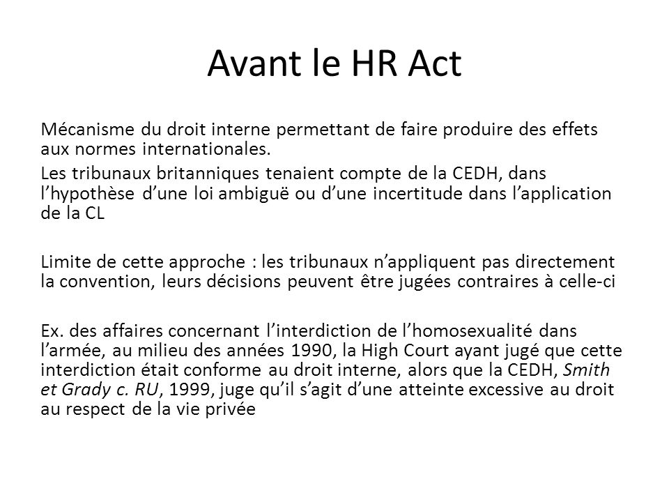 Avant le HR Act