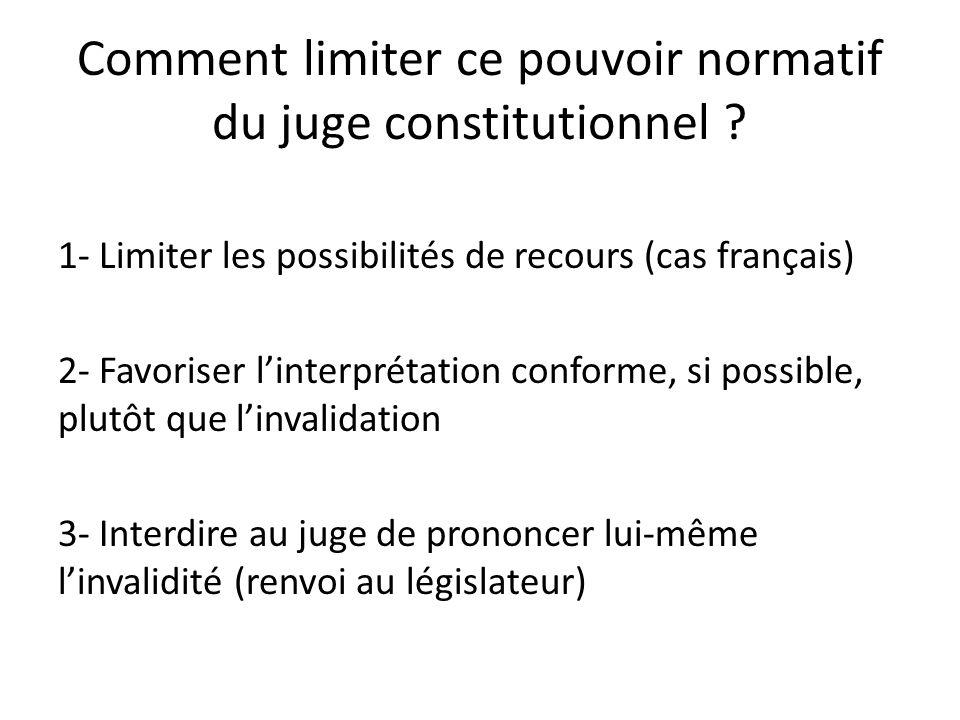 Comment limiter ce pouvoir normatif du juge constitutionnel