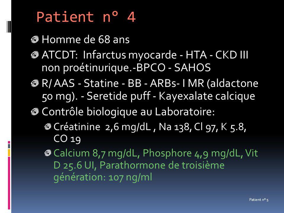 Patient n° 4 Homme de 68 ans. ATCDT: Infarctus myocarde - HTA - CKD III non proétinurique.-BPCO - SAHOS.