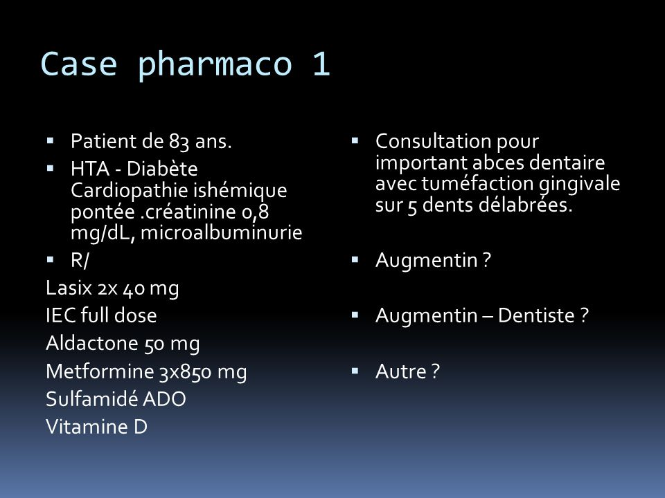 Case pharmaco 1 Patient de 83 ans.