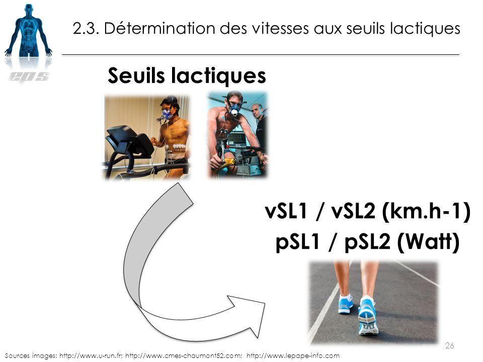 2.3. Détermination des vitesses aux seuils lactiques