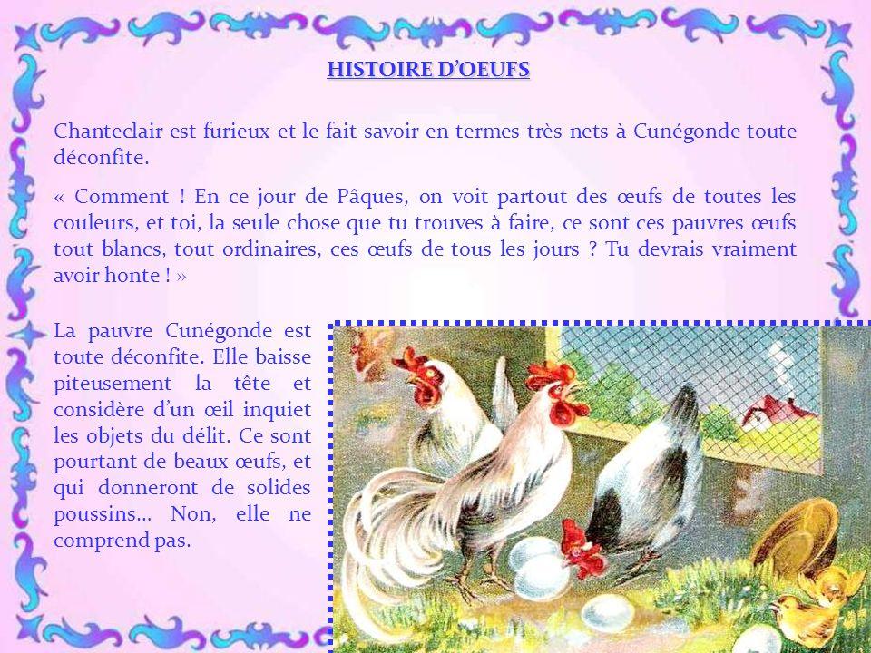 HISTOIRE D'OEUFS Chanteclair est furieux et le fait savoir en termes très nets à Cunégonde toute déconfite.