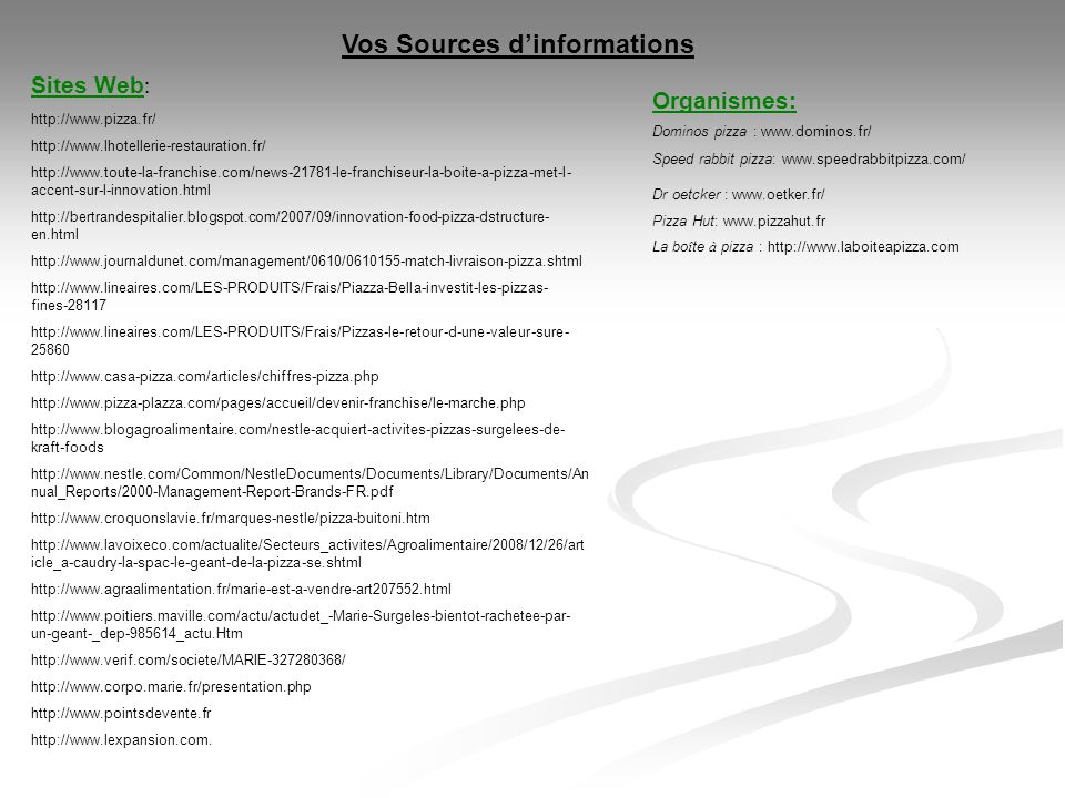 Vos Sources d'informations
