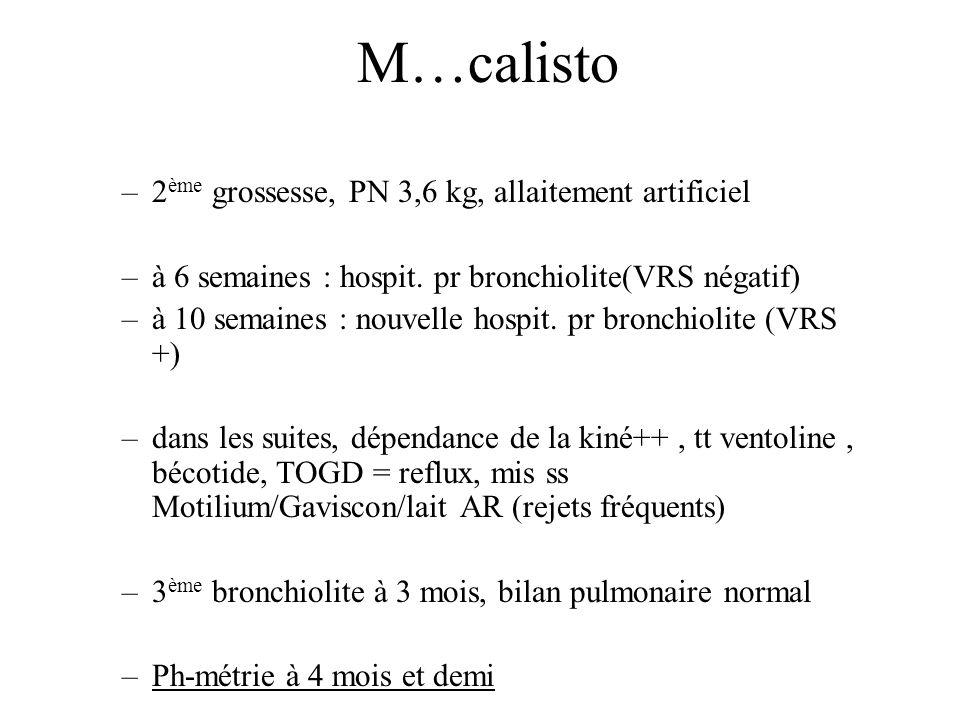 M…calisto 2ème grossesse, PN 3,6 kg, allaitement artificiel