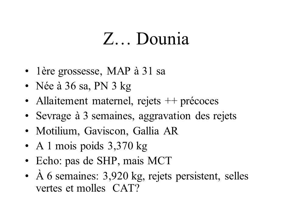 Z… Dounia 1ère grossesse, MAP à 31 sa Née à 36 sa, PN 3 kg