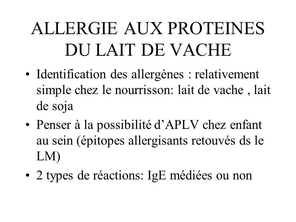 ALLERGIE AUX PROTEINES DU LAIT DE VACHE