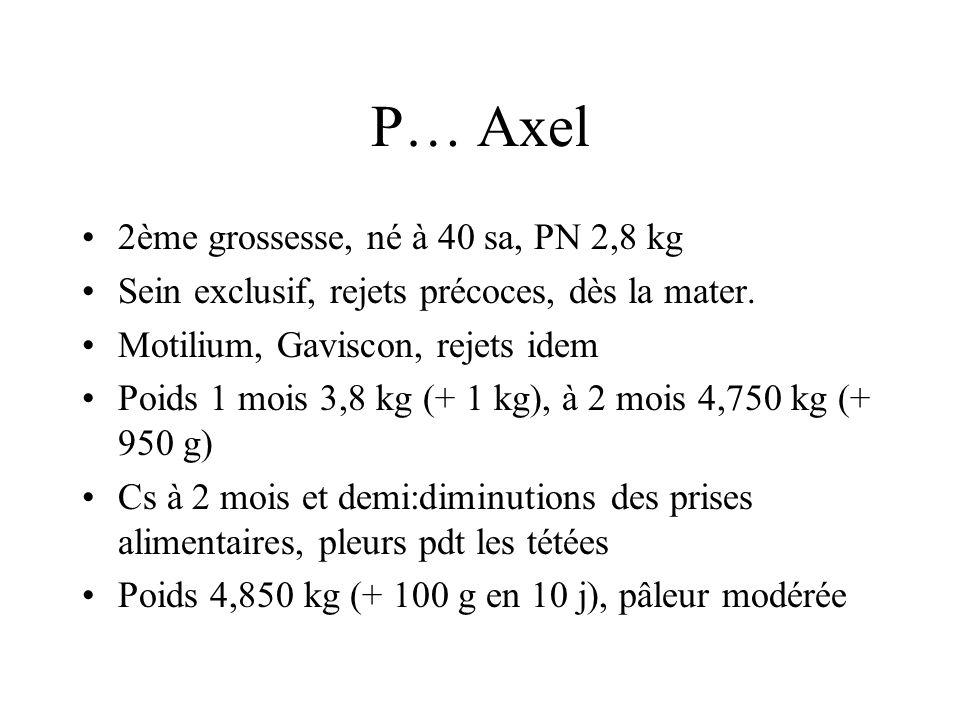 P… Axel 2ème grossesse, né à 40 sa, PN 2,8 kg