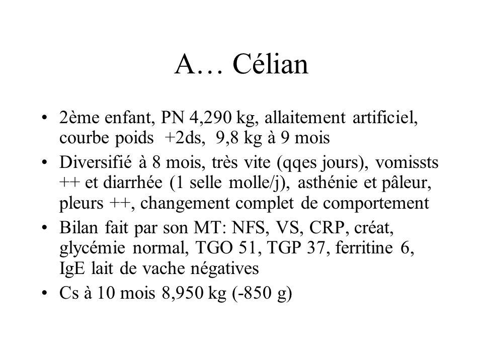 A… Célian 2ème enfant, PN 4,290 kg, allaitement artificiel, courbe poids +2ds, 9,8 kg à 9 mois.