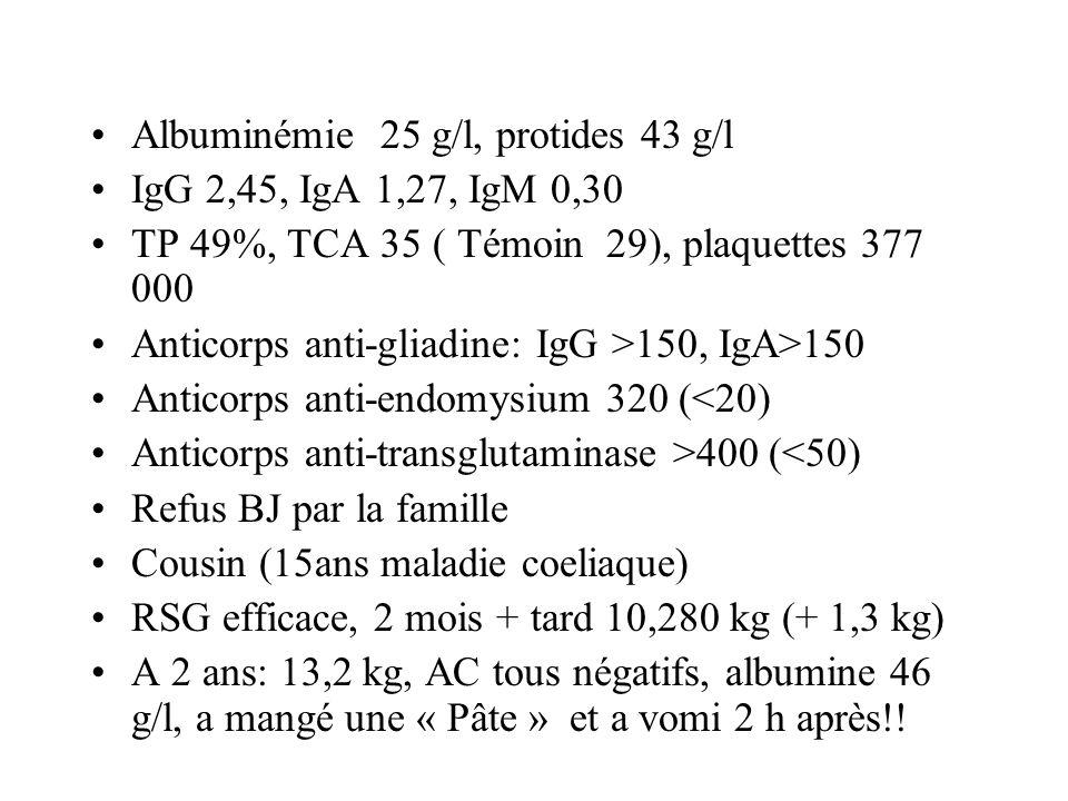 Albuminémie 25 g/l, protides 43 g/l