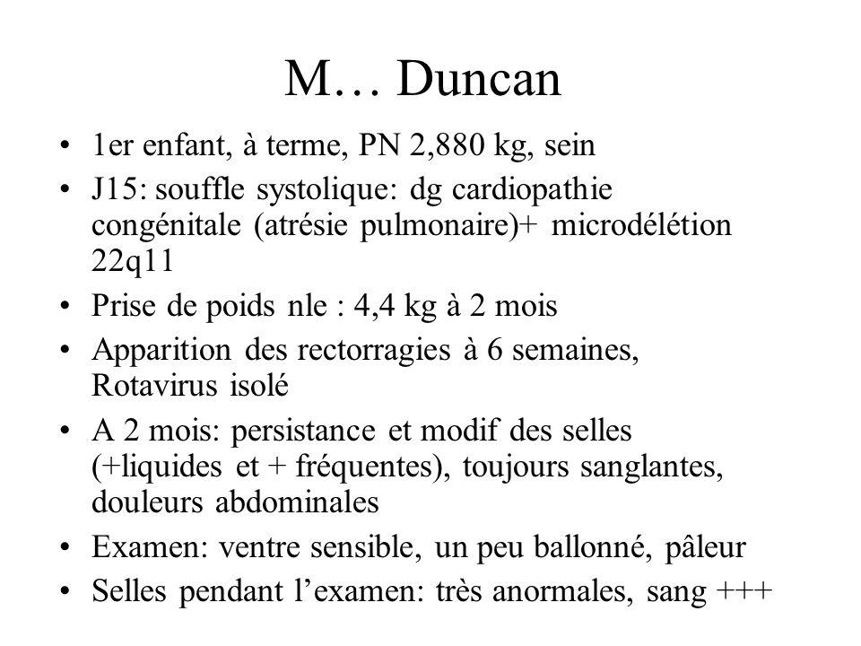 M… Duncan 1er enfant, à terme, PN 2,880 kg, sein