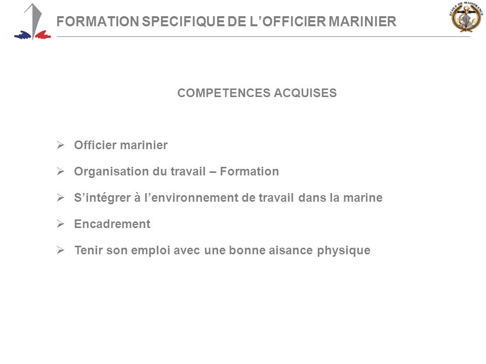 FORMATION SPECIFIQUE DE L'OFFICIER MARINIER