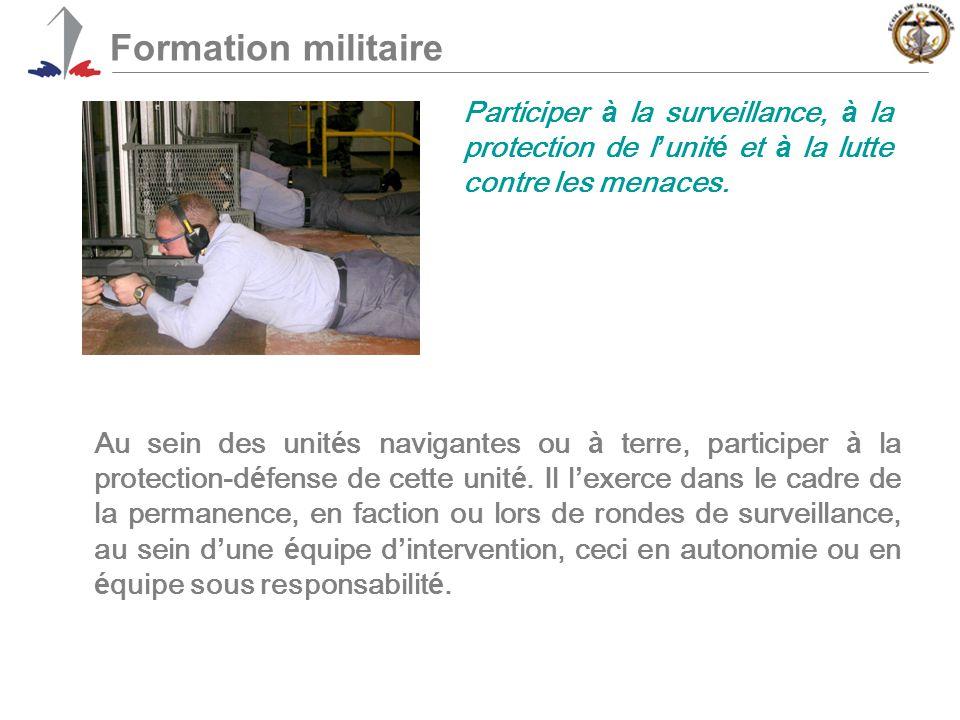 Formation militaire Participer à la surveillance, à la protection de l'unité et à la lutte contre les menaces.