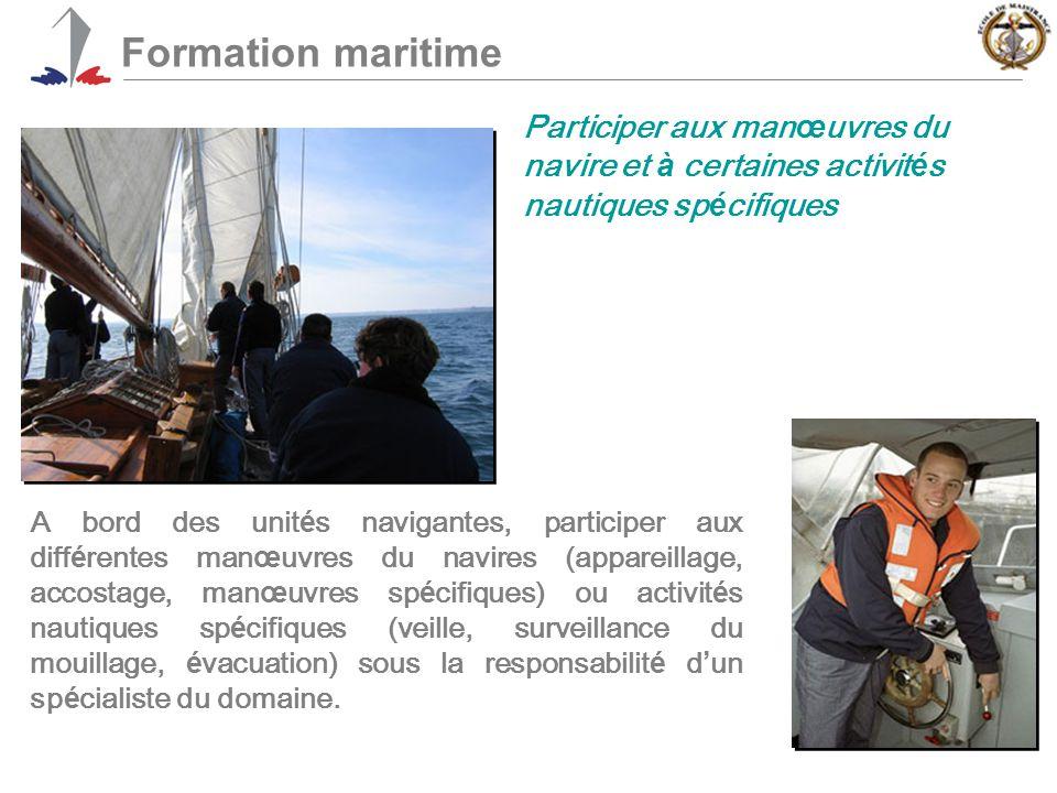 Formation maritime Participer aux manœuvres du navire et à certaines activités nautiques spécifiques.