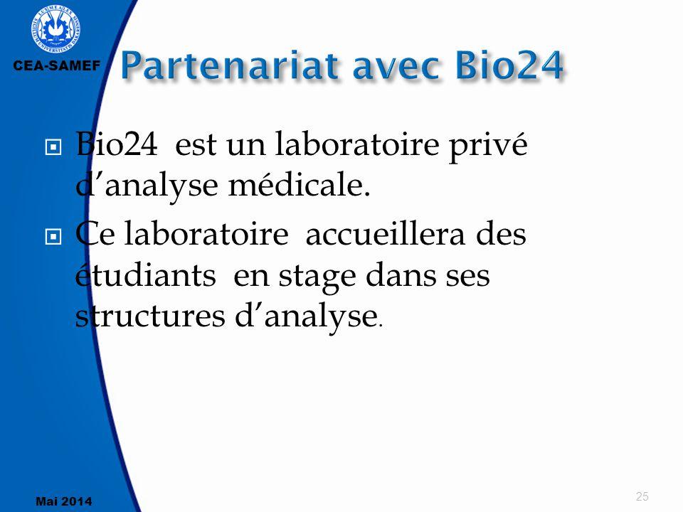 Partenariat avec Bio24 Bio24 est un laboratoire privé d'analyse médicale.