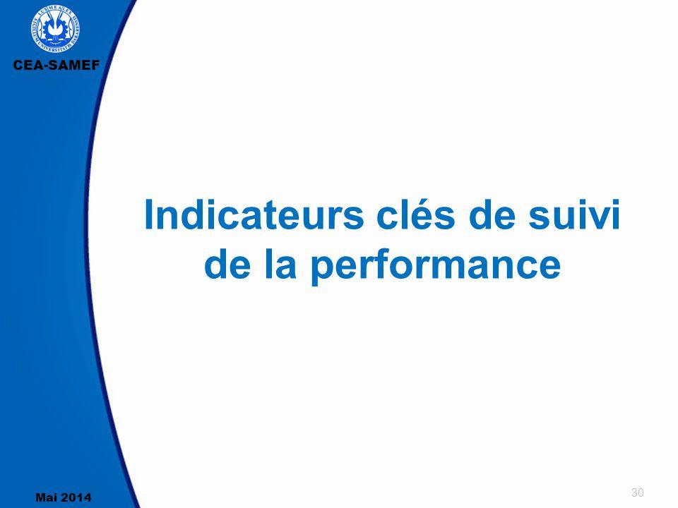 Indicateurs clés de suivi de la performance
